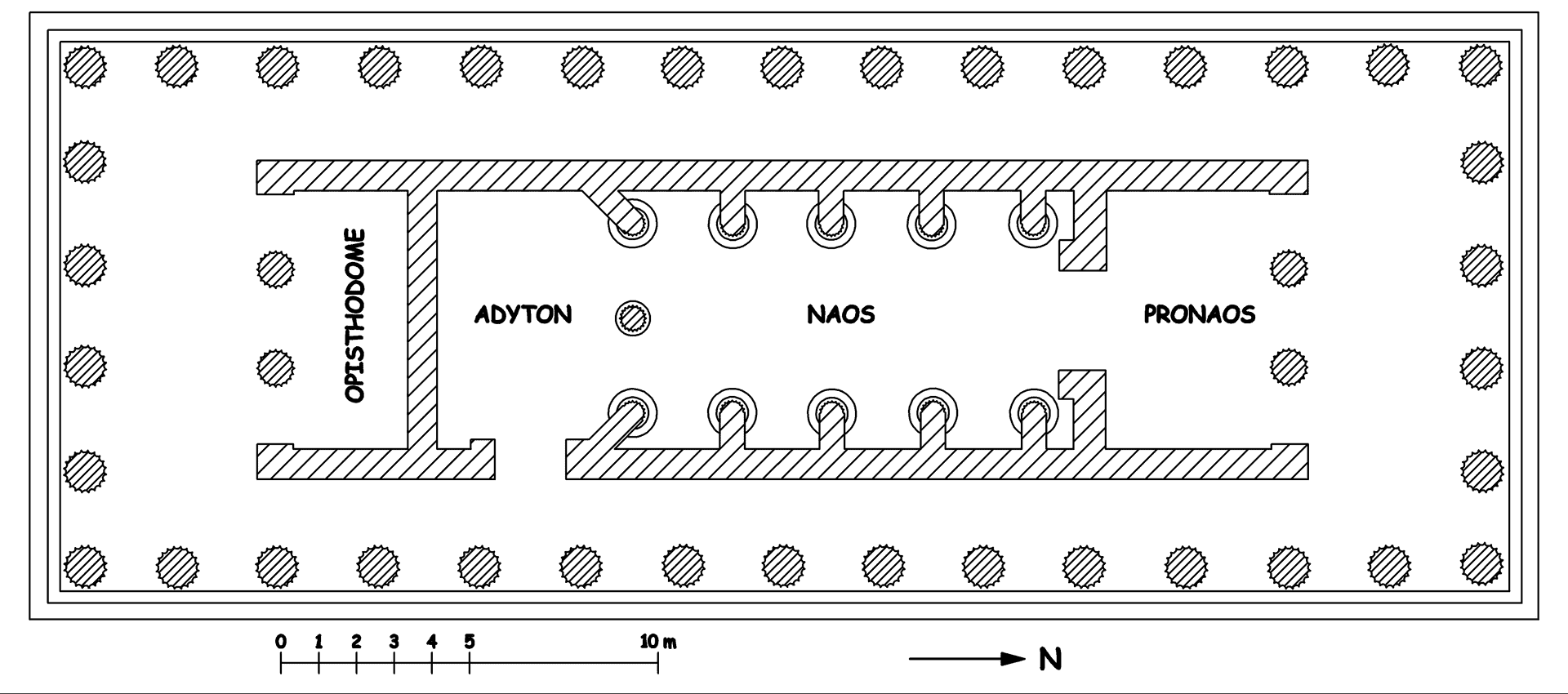 Ejemplo de ádyton del templo de Apolo de Figalia.